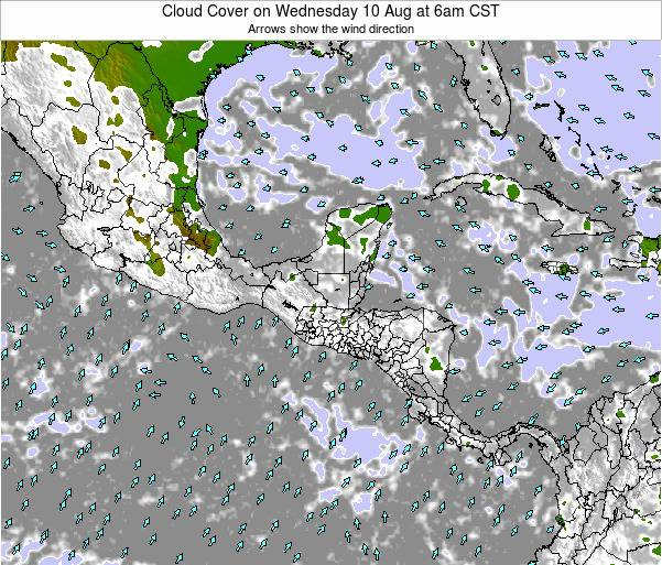 El Salvador Cloud Cover on Tuesday 28 May at 6pm CST