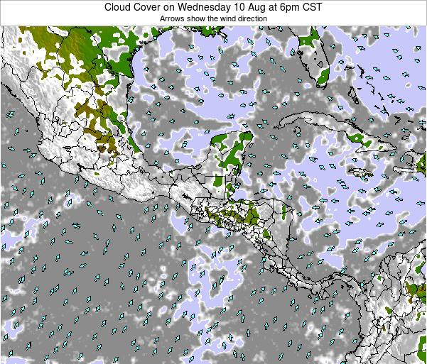 Nicaragua Cloud Cover on Monday 29 Jul at 12pm CST map