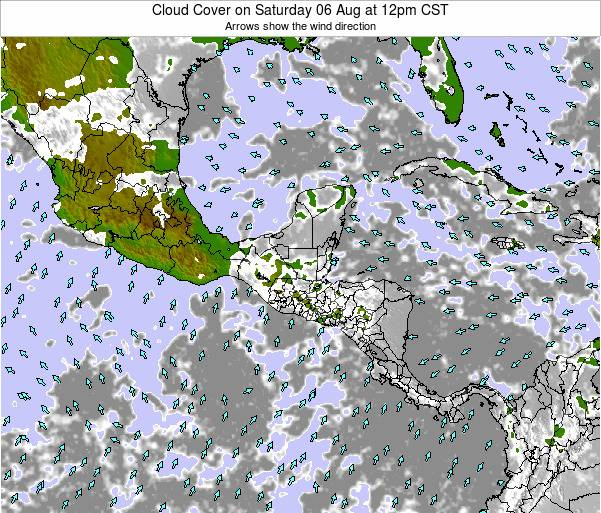 Costa Rica Cloud Cover on Wednesday 14 Dec at 6am CST