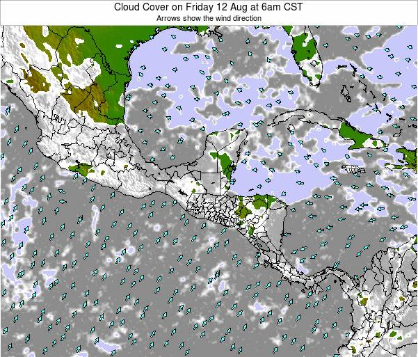 Costa Rica Cloud Cover on Saturday 15 Mar at 12pm CST