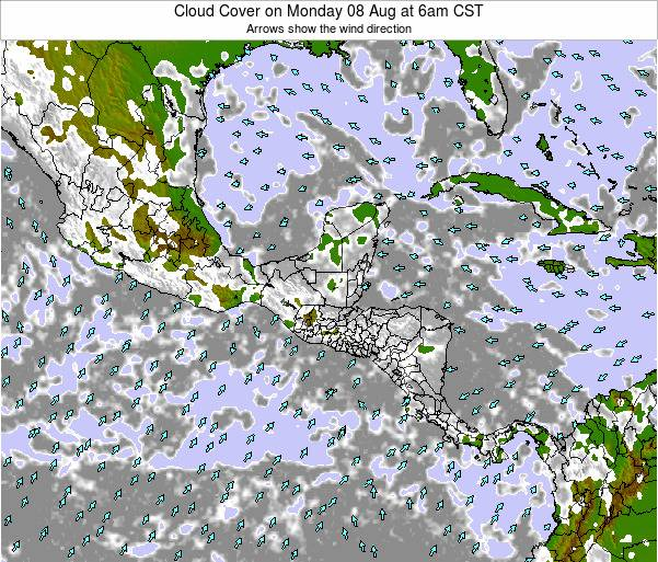 El Salvador Cloud Cover on Sunday 26 May at 12am CST