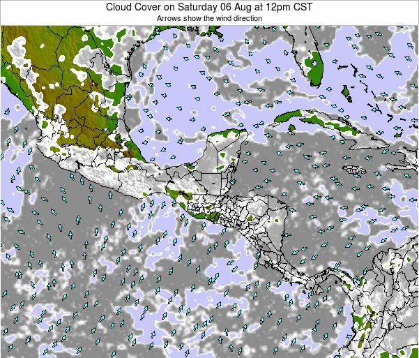 Nicaragua Cloud Cover on Sunday 21 Oct at 12am CST map