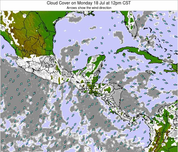 Costa Rica Cloud Cover on Friday 24 May at 12am CST