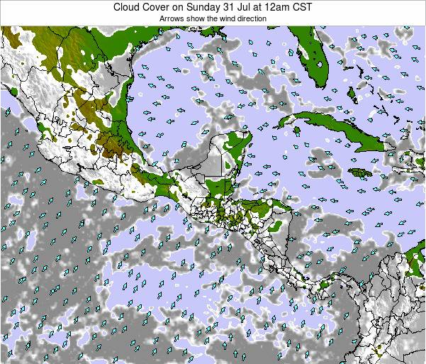 Nicaragua Cloud Cover on Friday 19 Jul at 12pm CST map