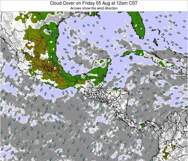 Nicaragua Cloud Cover on Saturday 20 Jul at 6pm CST map