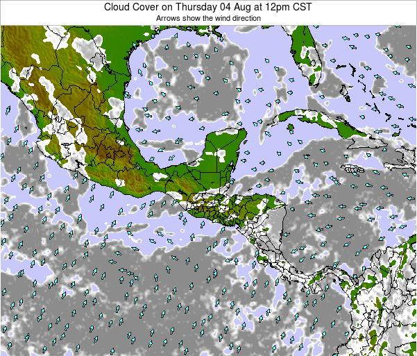 Costa Rica Cloud Cover on Saturday 29 Nov at 6am CST