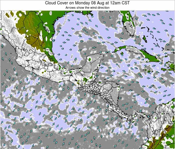 Costa Rica Cloud Cover on Friday 25 Jul at 12am CST