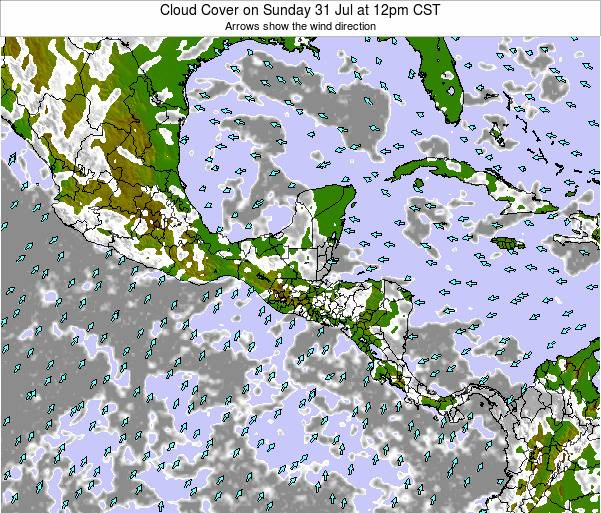 Costa Rica Cloud Cover on Tuesday 29 Jul at 12am CST