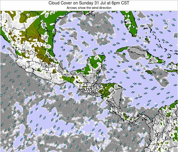 Costa Rica Cloud Cover on Thursday 23 May at 6am CST
