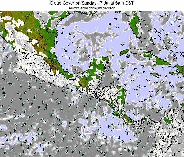 Costa Rica Cloud Cover on Thursday 26 May at 6am CST