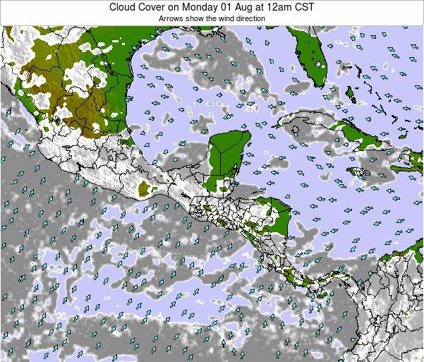 Costa Rica Cloud Cover on Wednesday 13 Dec at 12am CST map