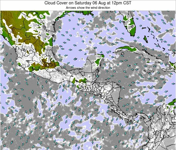 Costa Rica Cloud Cover on Tuesday 26 Jun at 12pm CST map