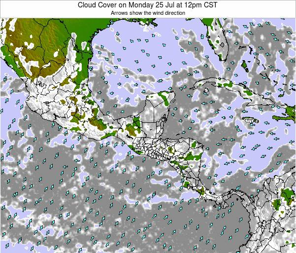 Costa Rica Cloud Cover on Wednesday 30 Jul at 12pm CST