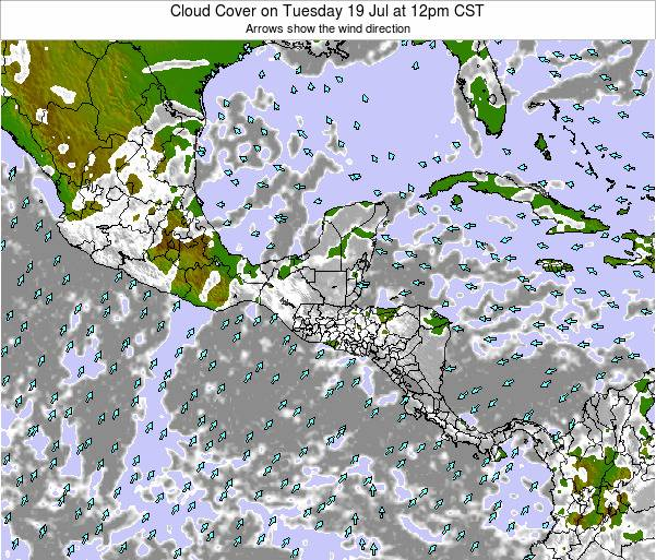 Costa Rica Cloud Cover on Friday 25 Apr at 12pm CST