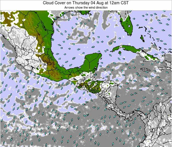 Costa Rica Cloud Cover on Friday 13 Dec at 12am CST