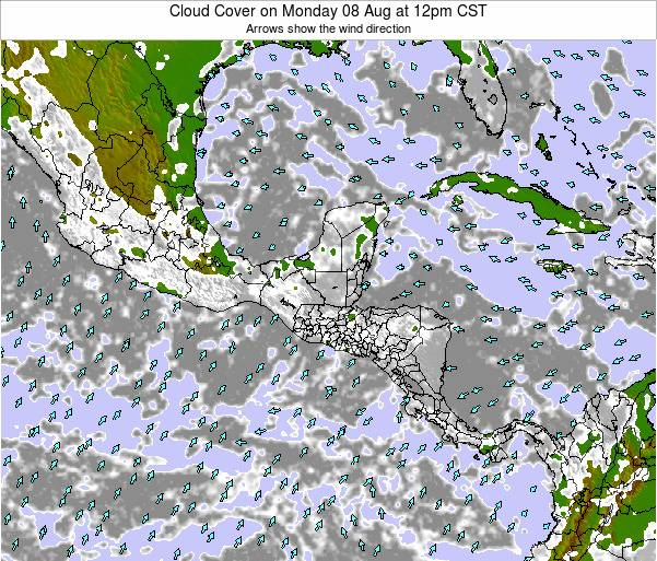 Costa Rica Cloud Cover on Monday 06 Jul at 12pm CST