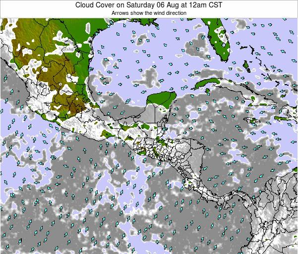 Costa Rica Cloud Cover on Saturday 25 Oct at 6am CST
