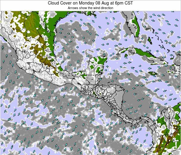Honduras Cloud Cover on Monday 27 May at 12pm CST
