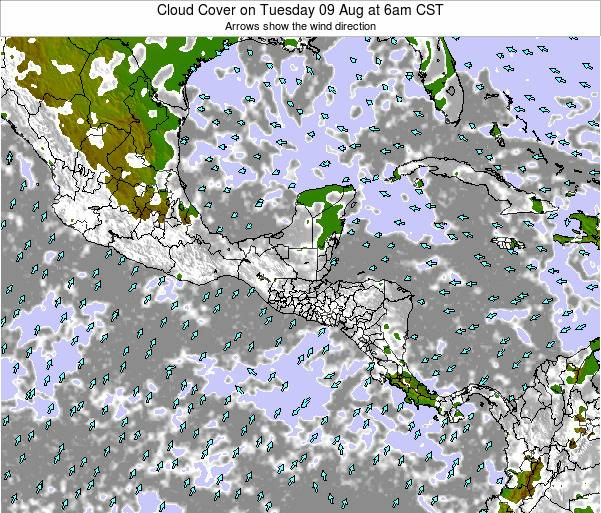 Honduras Cloud Cover on Friday 25 Apr at 6pm CST