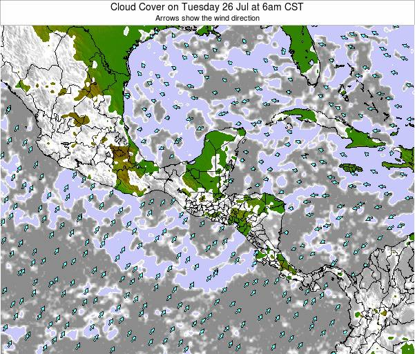 Honduras Cloud Cover on Monday 10 Mar at 12am CST