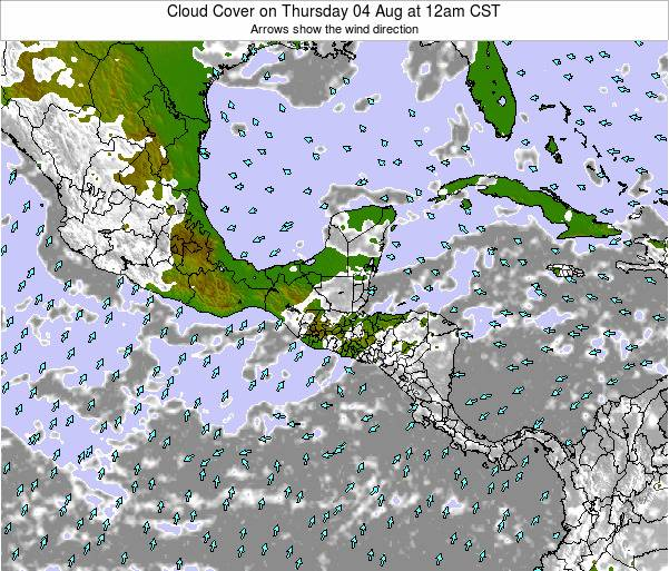 Costa Rica Cloud Cover on Monday 27 May at 12am CST