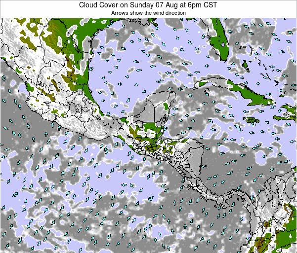 Honduras Cloud Cover on Monday 09 Dec at 6am CST