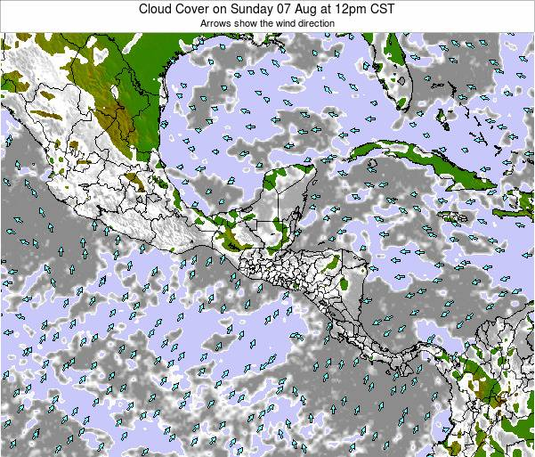 Honduras Cloud Cover on Thursday 25 Aug at 12pm CST