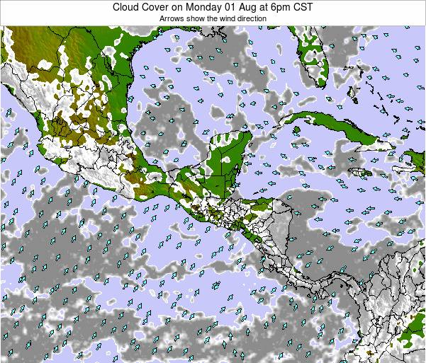 El Salvador Cloud Cover on Wednesday 22 May at 6pm CST
