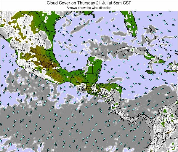 Costa Rica Cloud Cover on Saturday 14 Dec at 12am CST