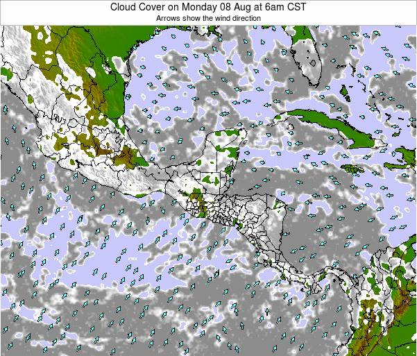 Costa Rica Cloud Cover on Wednesday 04 Mar at 12am CST
