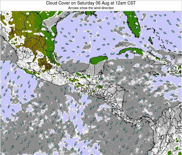 Costa Rica Cloud Cover on Wednesday 27 Jul at 6am CST