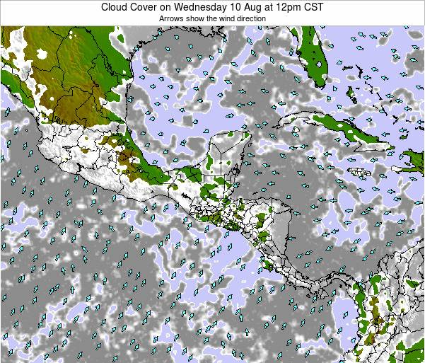 Costa Rica Cloud Cover on Sunday 20 Aug at 12pm CST
