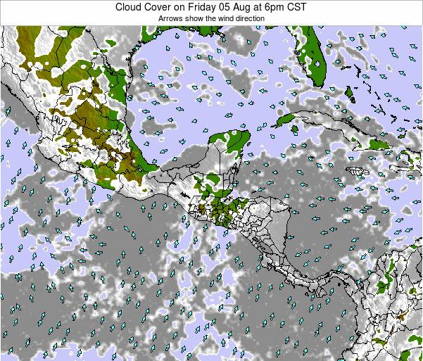 Costa Rica Cloud Cover on Sunday 27 Jul at 12am CST