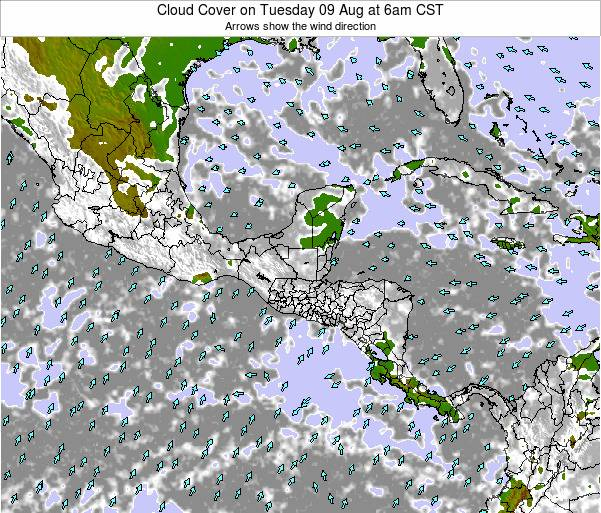 Costa Rica Cloud Cover on Wednesday 12 Mar at 12am CST
