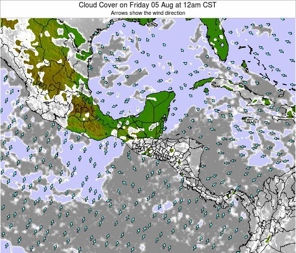 Costa Rica Cloud Cover on Sunday 25 Feb at 6am CST map