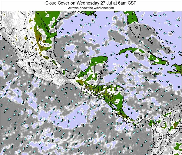 Costa Rica Cloud Cover on Sunday 27 Apr at 12am CST