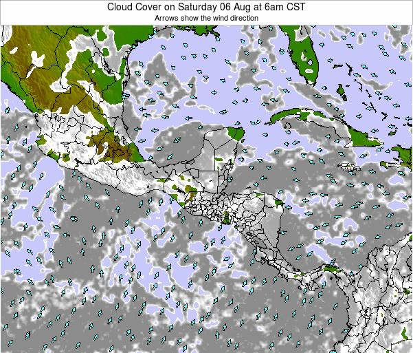 Nicaragua Cloud Cover on Monday 26 Aug at 12am CST map