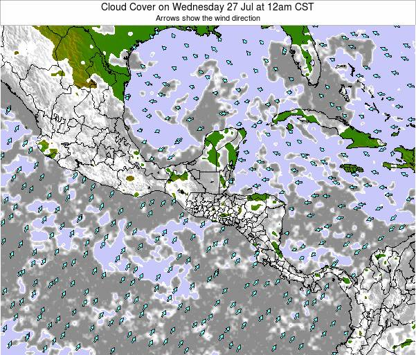 Costa Rica Cloud Cover on Thursday 13 Mar at 6pm CST