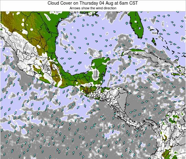 Costa Rica Cloud Cover on Saturday 01 Jul at 12am CST