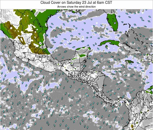 Costa Rica Cloud Cover on Saturday 19 Apr at 12pm CST