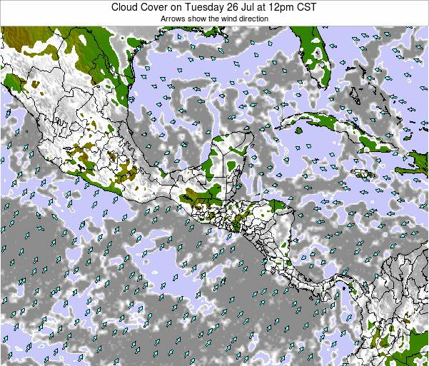 Costa Rica Cloud Cover on Monday 04 Aug at 12am CST