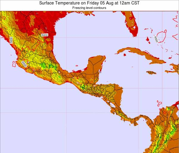 Belize Surface Temperature on Tuesday 28 May at 6am CST map