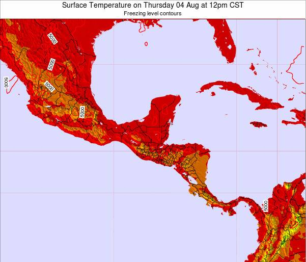 Honduras Surface Temperature on Sunday 23 Sep at 12pm CST map