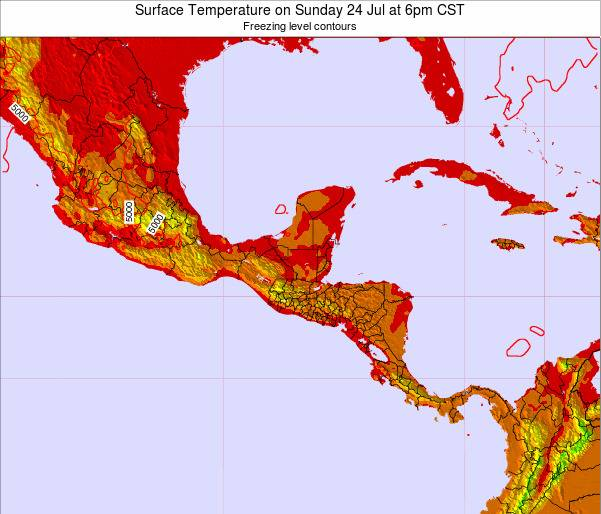 El Salvador Surface Temperature on Thursday 05 Dec at 12am CST map