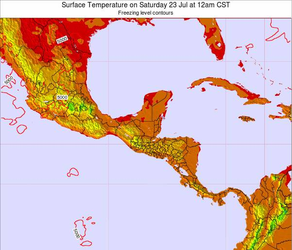 El Salvador Surface Temperature on Friday 18 Apr at 12am CST map