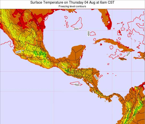 El Salvador Surface Temperature on Saturday 25 May at 6am CST map