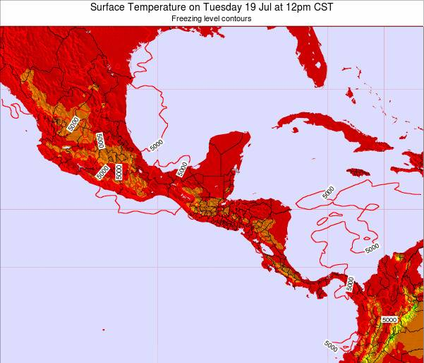 Honduras Surface Temperature on Wednesday 23 Jul at 6pm CST