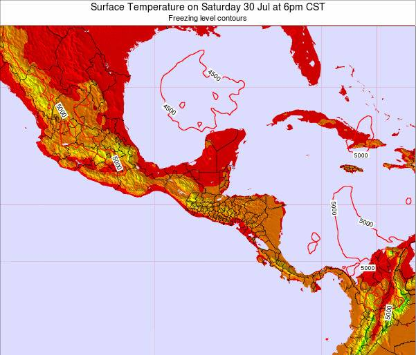 El Salvador Surface Temperature on Wednesday 23 Jul at 12am CST map