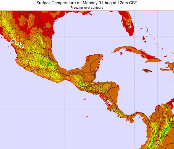 Honduras Surface Temperature on Wednesday 29 Jun at 12am CST