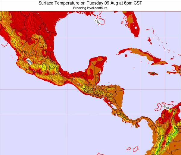 Costa Rica Surface Temperature on Monday 24 Jun at 6am CST